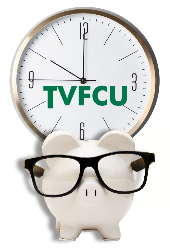 TVFCU Clock with the pig mascot