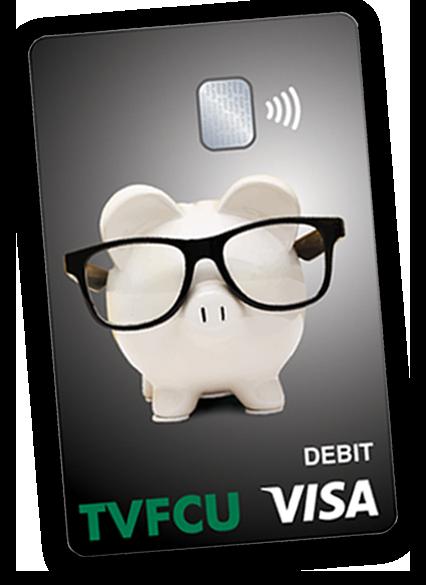 black TVFCU debit card with piggy bank mascot on it