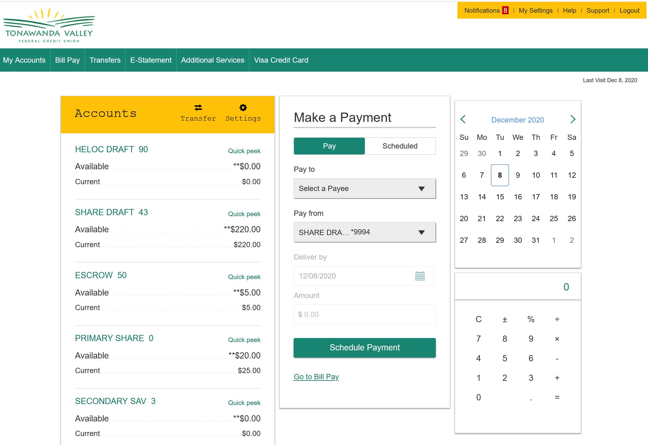 Home Banking Accounts Page