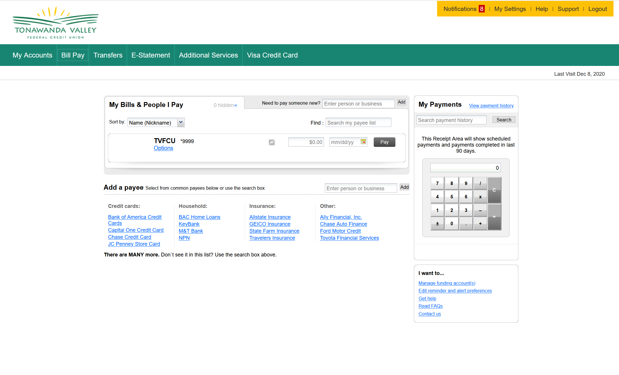 Home Banking Bill Pay Page
